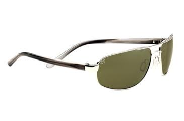 Serengeti Livigno Sunglasses - Shiny Silver /  Smoke Stripe Frame and Polarized 555nm Lens 7772