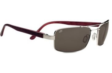 Serengeti Tosca Sunglasses - Shiny  Silver/Deep Red Brown Laser Frame and Polar PhD CPG Lens 7795