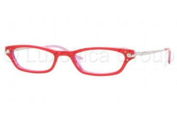 Sferoflex SF 1543B Eyeglasses Styles, Red On Violet Striped Frame w/Non-Rx 50 mm Diameter Lenses, C313-5019