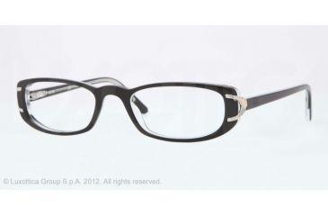 Sferoflex SF1550 Single Vision Prescription Eyeglasses C388-51 - Top Black On Crystal Frame, Demo Lens Lenses