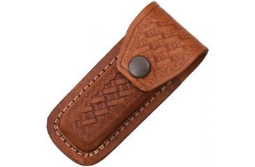 Sheath Folding Knife Sheath, Brown leather w/ embossed basketweave, 3.5-4in closed SH1131