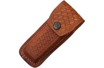 Sheath Folding Knife Sheath, Brown leather w/ embossed basketweave, 4.5-5.25in closed SH1132