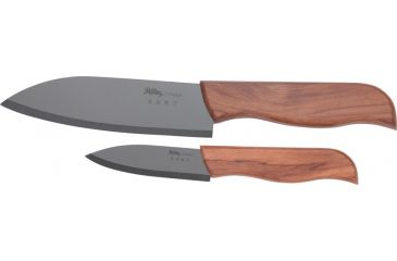 Shilling Ceramic Kitchen Knife, Includes 5 1/4in. chefs and 3in. paring knives, Black ceramic blade, hardwood handle SNG2PCB