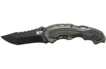 Smith & Wesson Military & Police M.A.G.I.C. Assisted Opening Liner Lock Folding Knife,3.4in Black Steel Clip Point Blade,Black Aluminum Handle,Clam Package SWMP6CP