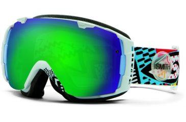 Smith Optics I/O Snow Goggles - White Carlton Frame w/ Green Sol X and Red Sensor Lens IO7NXWC13