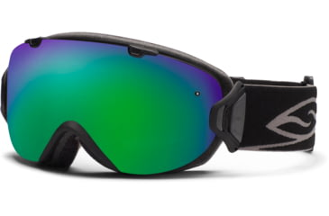 Smith Optics I/OS Snow Goggles - Black Frame w/ Green Sol X and Red Sensor Lens IS7NXBK12