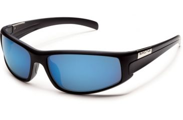 Suncloud Polarized Optics Swagger Sunglasses - Matte Black      Frame and Blue Mirror Polarized Polycarbonate Lens S-SGPPUMMB