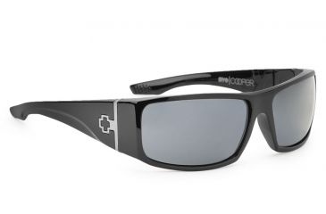 Spy Optic Cooper XL Sunglasses, Black Shiny Frame, Grey Lenses 670036062129
