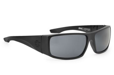 Spy Optic Cooper XL Sunglasses, Matte Black Frame, Grey Polarized Lenses 670036374135
