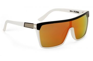Spy Optic Flynn Sunglasses w/ Black White Frame & Grey Red Flash Mirror Lens