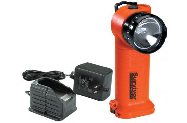 Streamlight Survivor Div 1 Flashlight, Orange, w/ 120V AC Charger,  Fast Charge base 91001