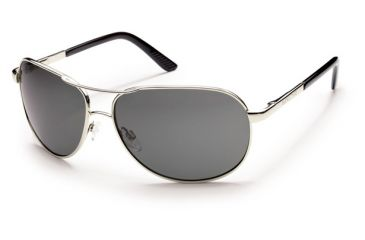 Suncloud Polarized Optics Aviator (New) Sunglasses - Silver Frame, Gray Polarized Polycarbonate Lenses S-AVPPGYSV