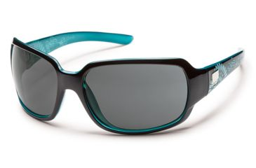 Suncloud Polarized Optics Cookie Sunglasses - Black Teal Laser Frame/Gray Polarized Polycarbonate Lens S-COPPGYBKZ