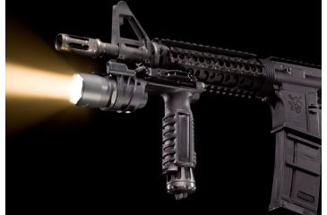 SureFire M900A Picatinny Rail Vertical Foregrip Weapon Light - A.R.M.S. Throw-Lever Mount - shown mounted and lit