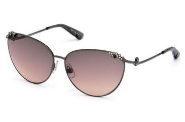 Swarovski SK0026 Sunglasses - Shiny Gun Metal Frame Color, Gradient Smoke Lens Color