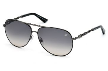 Swarovski SK0032 Sunglasses - Matte Gun Metal Frame Color, Gradient Smoke Lens Color