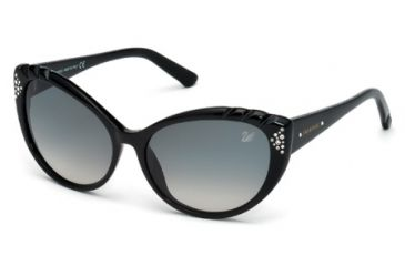 Swarovski SK0055 Sunglasses - Shiny Black Frame Color, Gradient Smoke Lens Color