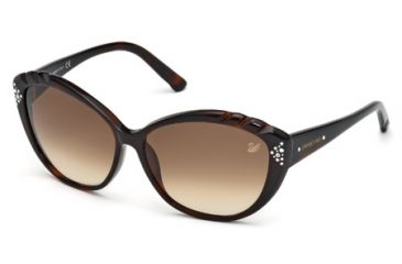 Swarovski SK0056 Sunglasses - Dark Havana Frame Color, Gradient Brown Lens Color