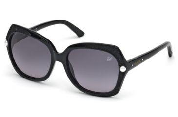Swarovski SK0062 Sunglasses - Shiny Black Frame Color, Brown Gradient Lens Color