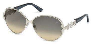 Swarovski SK0072 Sunglasses - Shiny Palladium Frame Color, Gradient Smoke Lens Color