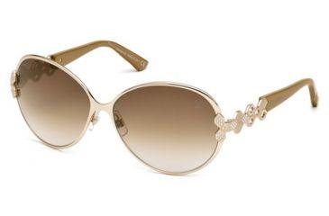 Swarovski SK0072 Sunglasses - Shiny Rose Gold Frame Color, Gradient Brown Lens Color