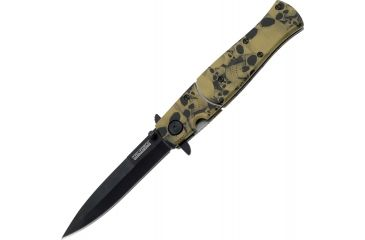 Tac Force 4.75in. Closed Folder Knives, Plain edge Knife, Tan Skull Handle TF804BN