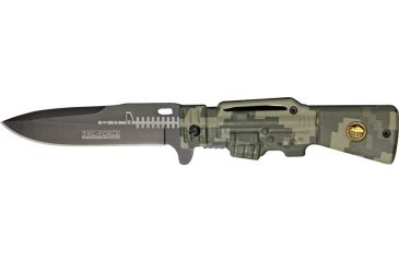 Tac Force Gun Stock Linerlock Fold Knife, black coated HC SS blade, Green digital camo handle TF706DG