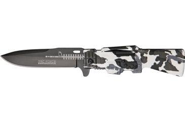Tac Force Gun Stock Linerlock Fold Knife, black coated HC SS blade, Snow camo handle TF706DW
