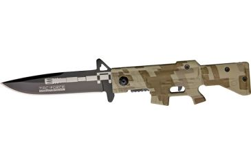 Tac Force M-16 Speed A/O Fold Knife, black SS blade, Compo. desert tan Camo handles in shape of M-16 TF741DM