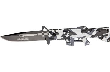 Tac Force M-16 Speed A/O Fold Knife, black SS blade, Compo. white Camo handles in shape of M-1 TF741DW