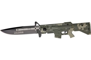 Tac Force M-16 Speed A/O Fold Knife, black SS blade, OD green Camo handles in shape of M-16 TF741DG