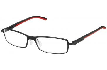 Tag Heuer Automatic Eyeglasses, Matte Black Frame/Black Red Temples, Clear Lens 0805-012