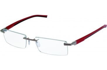 Tag Heuer Automatic Eyeglasses, Pure Frame/Red Black Temples, Clear Lens 0841-005