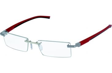 Tag Heuer Automatic Eyeglasses, Pure Frame/Red Black Temples, Clear Lens 0843-005