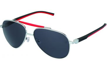 Tag Heuer Automatic Sunglasses, Palladium Frame/Black Red Temples, Grey Outdoor Lens 0881-102