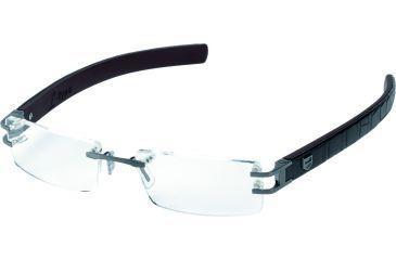 Tag Heuer L-Type Eyeglasses, Anthracite Ceramic Frame/Alligator Matte Black Plum Temples, Clear Lens 0112-003