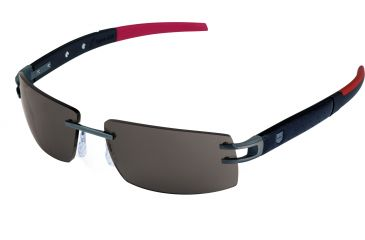 Tag Heuer L-Type LW Sunglasses, Anthracite Ceramic Frame/Calfskin Carbon Black Red Temples, Grey Outdoor Lens 0401-120
