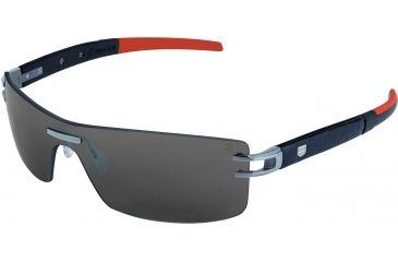 Tag Heuer L-Type LW Sunglasses, Pure Frame/Calfskin Black Black Orange Temples, Grey Outdoor Lens 0451-126