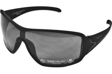 Tag Heuer Racer Sunglasses, Shiny Black Frame/Matte Black Soft Temples, Grey Polarized Lens, Polarized 9201-111