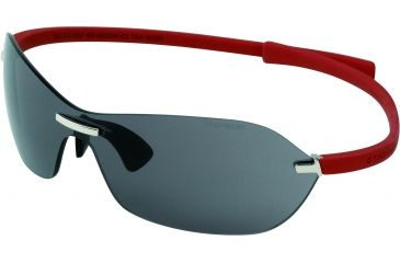 Tag Heuer Rimless Curve Sunglasses, Shiny Palladium Frame/Red Temples, Grey Outdoor Lens 5107-103