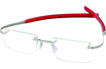 Tag Heuer Spring Eyeglasses, Pure Frame/Black Red Temples, Clear Lens 0301-008