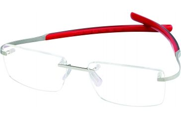 Tag Heuer Spring Eyeglasses, Pure Frame/Black Red Temples, Clear Lens 0303-008
