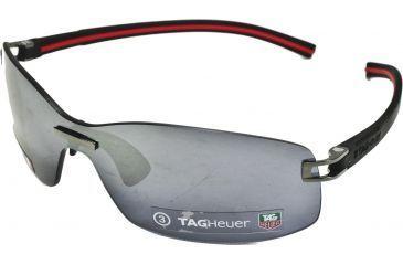 Tag Heuer Track S Sun Sunglasses, Black Ceramic Frame/Black Red Temples, Grey Polarized Lens, Polarized 7671-106