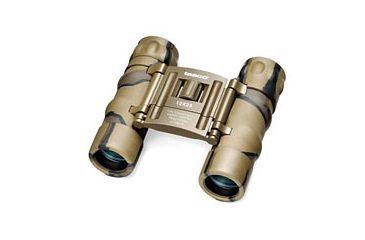 Tasco Essential 10x25mm Roof Prism Binocular Brown Camo 168BCRD, Plastic Clampack