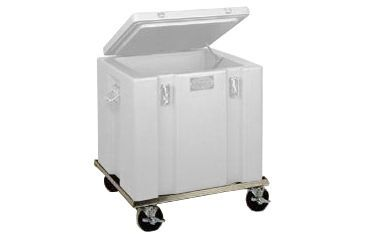 Tegrant Thermosafe ThermoSafe Dry Ice Storage and Transport Chests, ThermoSafe Brands 377R Aluminum Dolly With 4in Casters for 302 Dry Ice Chest