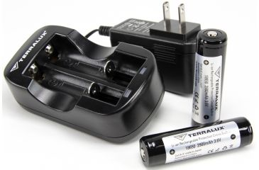 TerraLux Battery and Charger Kit, Black TLC-18650-KIT