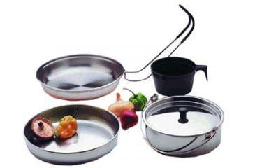 "Texsport Cookware Set, 6.50"" Diameter Frying Pan, 6.50"" Diameter Serving Dish, 16 fl oz Boiler, Lid, 8 fl oz Mug 13156TEX"