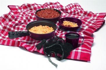 """Texsport Kangaroo Cookware Set, 1 quart Saucepan, 6"""" Diameter Bowl, Pot Gripper, Frying Pan 13444TEX"""