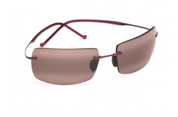 Maui Jim Thousand Peaks Sunglasses w/ Burgundy Frame and Maui Rose Lenses - R517-07, Quarter View