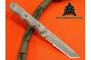 Tops Knives Taliban Take Down, Micarta Handle, Gray Blade, Tanto TKTTD-01